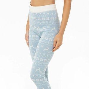 Pants - Sweater-knit leggings - Light blue & cream